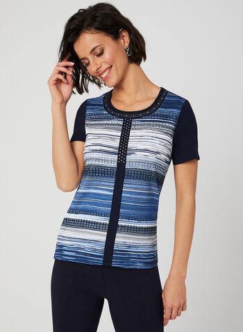 T-shirt rayé à détails en cristaux, Bleu, hi-res,  rayures, manches courtes, imprimé, motif, printemps été 2019