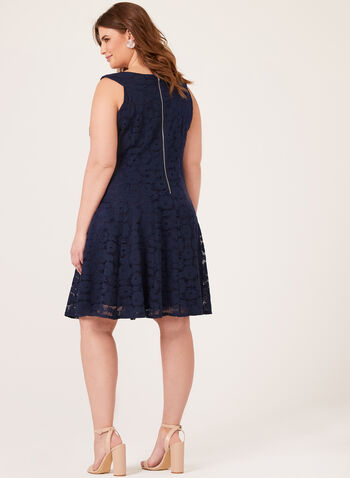 Fit & Flare Lace Print Dress, Blue, hi-res