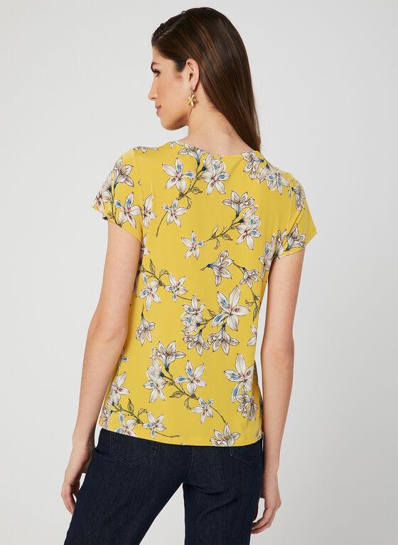 Blouse en jersey à imprimé floral, Jaune
