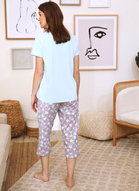 Embroidered Slogan Pyjama Set, Blue