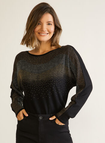 Rhinestone Sweater With Dolman Sleeves, Black,  fall winter 2020, sweater, knit, top, crystals, beads, studs, colourful, long sleeves, dolman sleeves