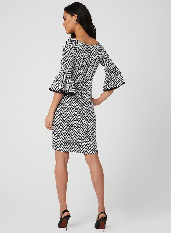 Zigzag Print Bell Sleeve Dress, Black, hi-res