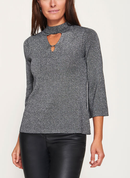 3/4 Bell Sleeve Cutout Top, Black, hi-res