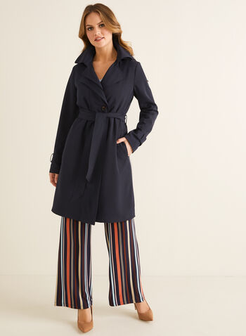 Novelti - Hooded Trench Coat, Blue,  spring summer 2020, notch collar, belt at waist, hood