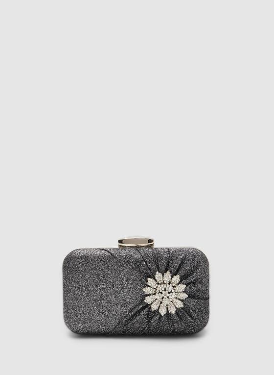 Crystal Flower Box Clutch, Grey