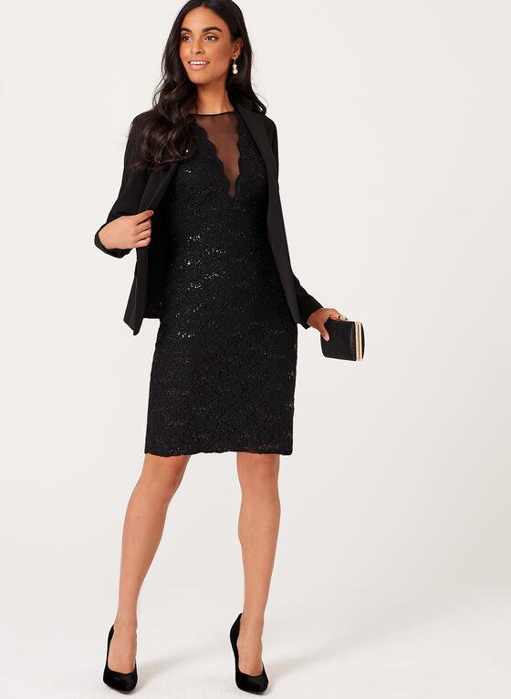 Robe en dentelle pailletée avec empiècement de maille, Noir, hi-res