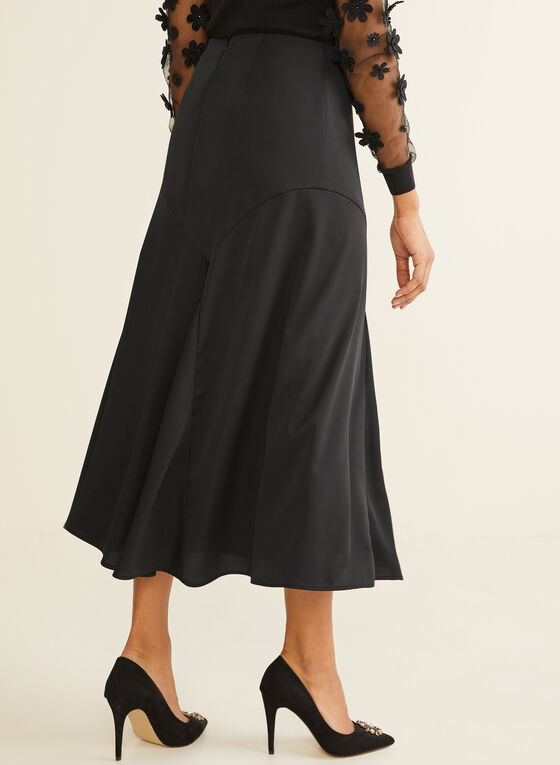 Long Satin Skirt, Black