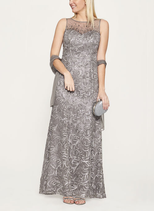 Beaded Soutache Embroidered Dress with Shawl, Grey, hi-res