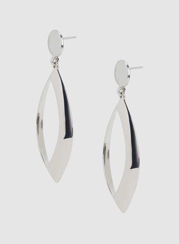 Eye Shaped Dangle Earrings, Silver, hi-res