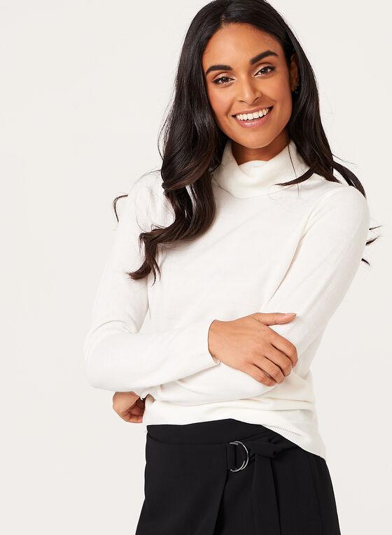 Pull tricot à col roulé côtelé, Blanc, hi-res