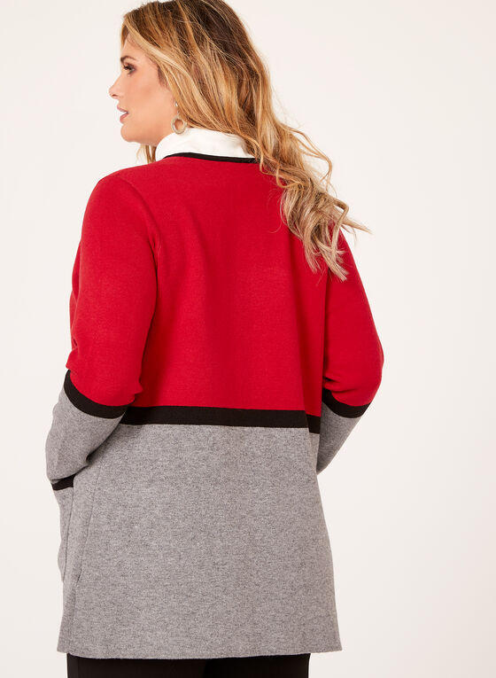 Contrast Double Knit Cardigan, Red, hi-res