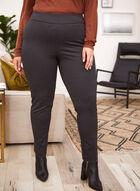 Square Print Slim Leg Pants, Black