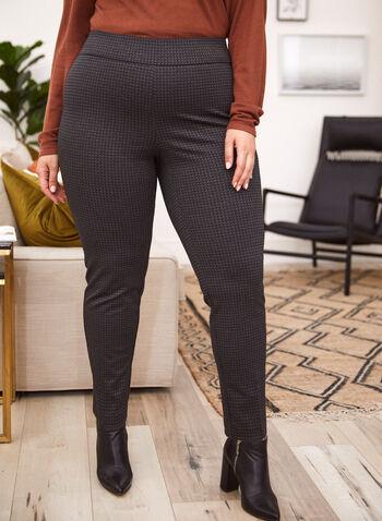 Pantalon motif carrés à jambe étroite, Noir,  automne hiver 2020, pantalon, taille élastique, à enfiler, pull-on, jambe étroite, motif, carrés, point de Rome