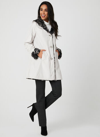 Reversible Faux Fur Coat, Off White, hi-res