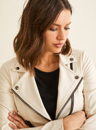 Vex - Contrast Zipper Faux Leather Jacket, Off White
