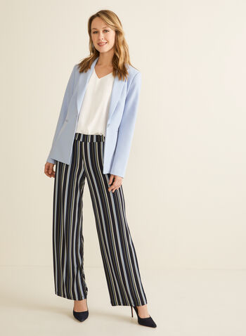 Stripe Print Modern Fit Pants, Blue,  pants, pull-on, wide leg, high rise, jersey, modern fit. striped, spring summer 2020