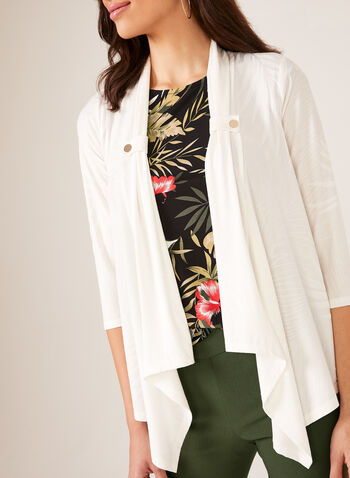 Jacquard Leaf Print Open Top, Off White, hi-res