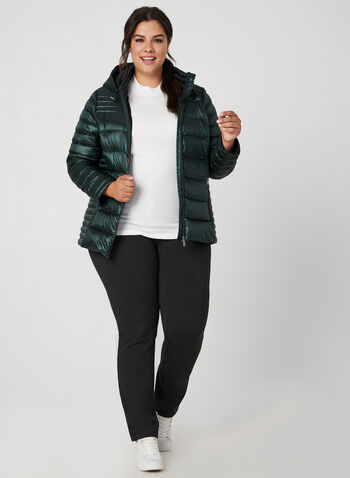 Quilted Packable Lightweight Coat, Green, hi-res,  coat, quilted, removable hood, long sleeves, pockets, fall 2019, winter 2019