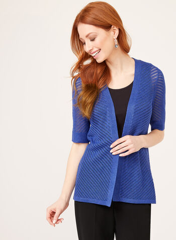 Open Front Pointelle Cardigan, Blue, hi-res