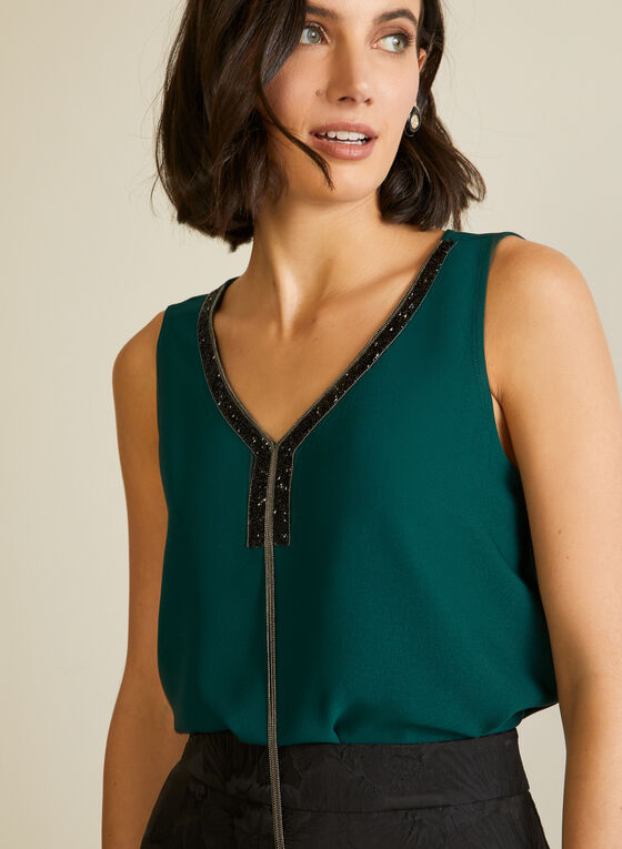 Sleeveless Jewelled Neck Blouse , Green