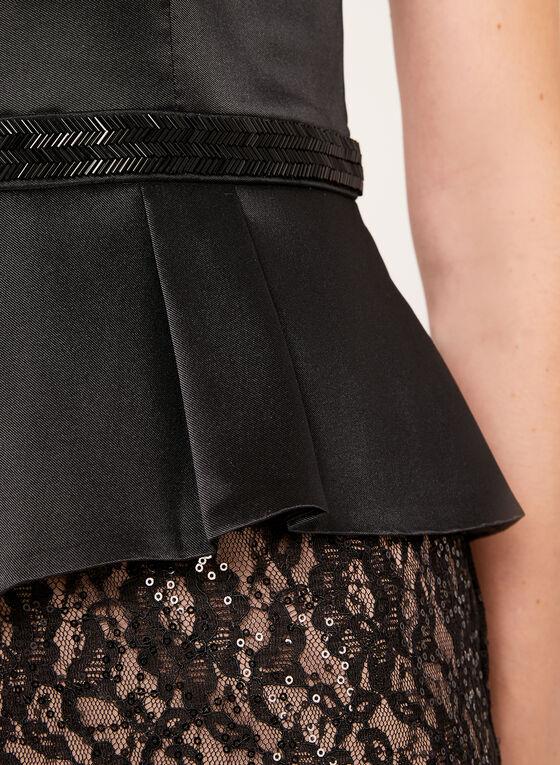 Robe péplum avec jupe en dentelle et sequins, Noir, hi-res