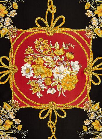 Foulard carré à motif floral et pompon, Rouge, hi-res,  foulard, carré, fleurs, pompon, automne hiver 2019
