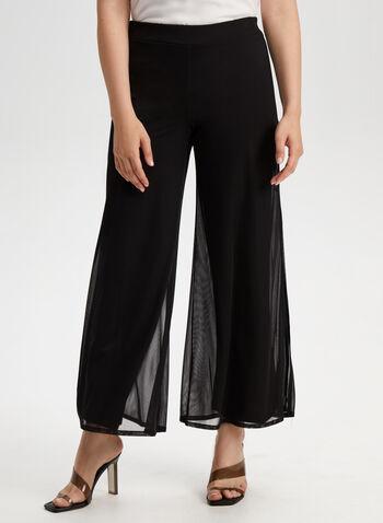 Pantalon coupe moderne à jambe large, Noir,  pantalon, pull-on, jambe large, mousseline, printemps 2019