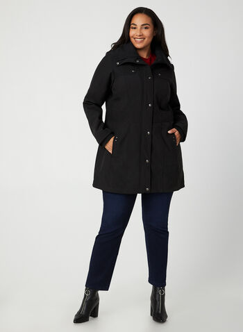 Weatherproof - Removable Hood Coat, Black,  coat, long sleeves, detachable hood, vertical pockets, Weatherproof, fall 2019