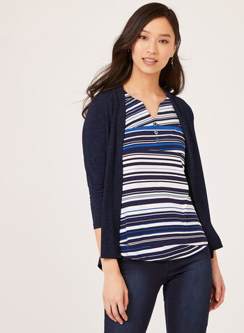 Pleated Back Open Front Cardigan, Blue, hi-res