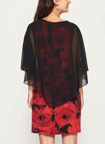 Chiffon Poncho Floral Print Dress, Red, hi-res