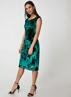 Floral Print Velour Dress, Green, hi-res