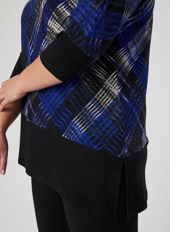 Tunique asymétrique à motif tartan, Noir, hi-res