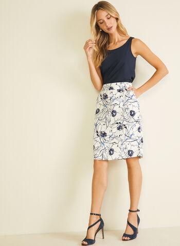 Floral Print Linen Skirt, White,  skirt, straight, floral, linen, pockets, spring summer 2020
