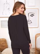 Long Sleeve Text Print T-Shirt, Black