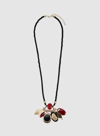 Charm Cluster Cord Necklace, Red, hi-res