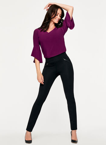 Pull-On Zipper Trim Ponte Leggings, , hi-res