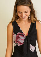 Floral Print Knot Detail Dress, Black