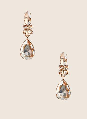 Boucles d'oreilles à pendant goutte, Or,  boucles d'oreilles, goutte, fleur, cristaux, pierre facettée, printemps été 2020