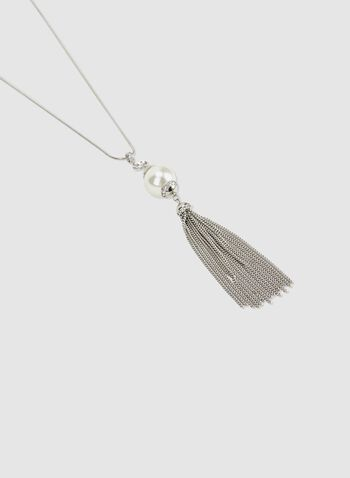 Tassel Pendant Necklace, Off White, hi-res