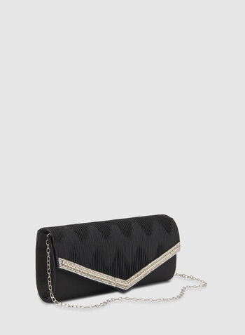 Crystal Detailed Envelope Clutch, Black,  clutch, flap clutch, envelope clutch, crystal clutch, crystals, fall 2019, winter 2019
