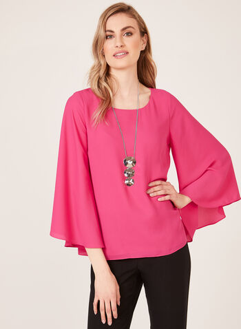 Wide Bell Sleeve Chiffon Blouse, Pink, hi-res
