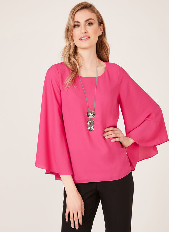 Blouse en mousseline à manches cloche, Rose, hi-res