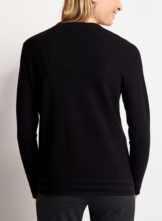Cardigan ouvert en tricot texturé, Noir, hi-res