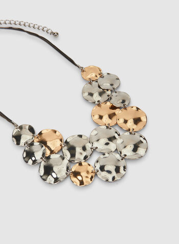 Hammered Disc Necklace, Yellow,  hammered disc, necklace, disc, two-toned, metallic, chain, double row necklace, chain necklace, fall 2019, winter 2019