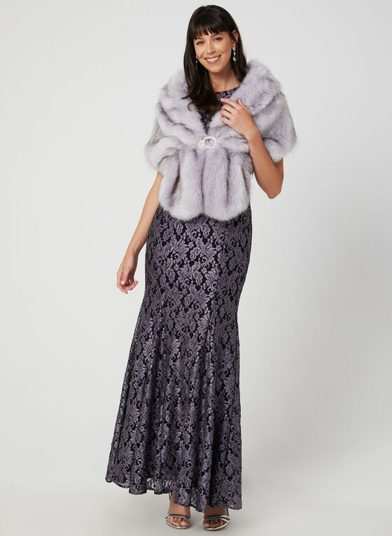 Faux Fur Stole , Purple