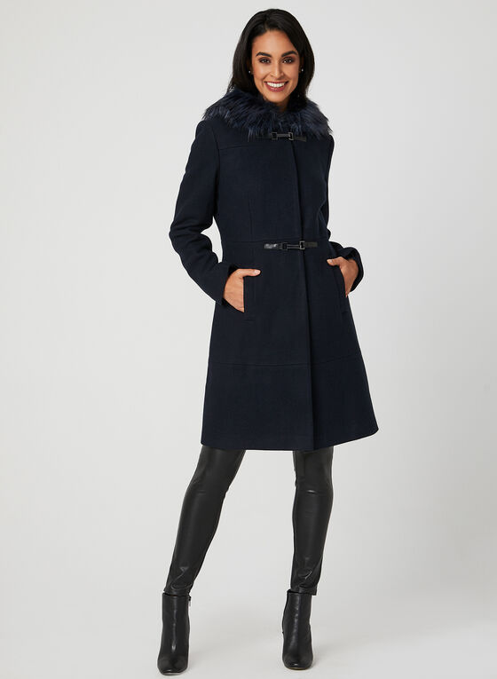 Hooded Toggle Coat, Blue, hi-res