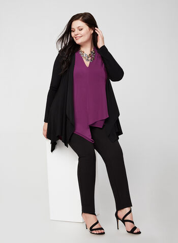 Joseph Ribkoff -Asymmetric Jersey Top, Purple,  fall 2019, winter 2019, blouse, tunic, v-neck, jersey, ¾ sleeves, 3/4 sleeves