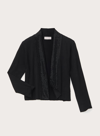 ¾ Sleeve Bolero With Detailed Crystals, Black, hi-res