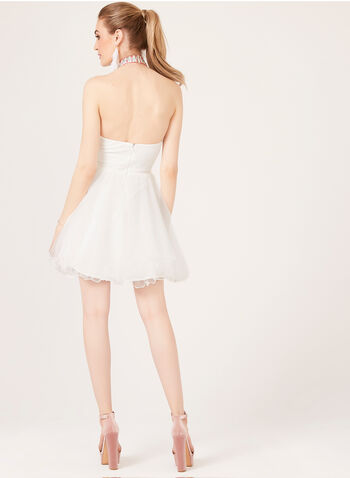Cleo Neck Fit & Flare Dress, Off White, hi-res