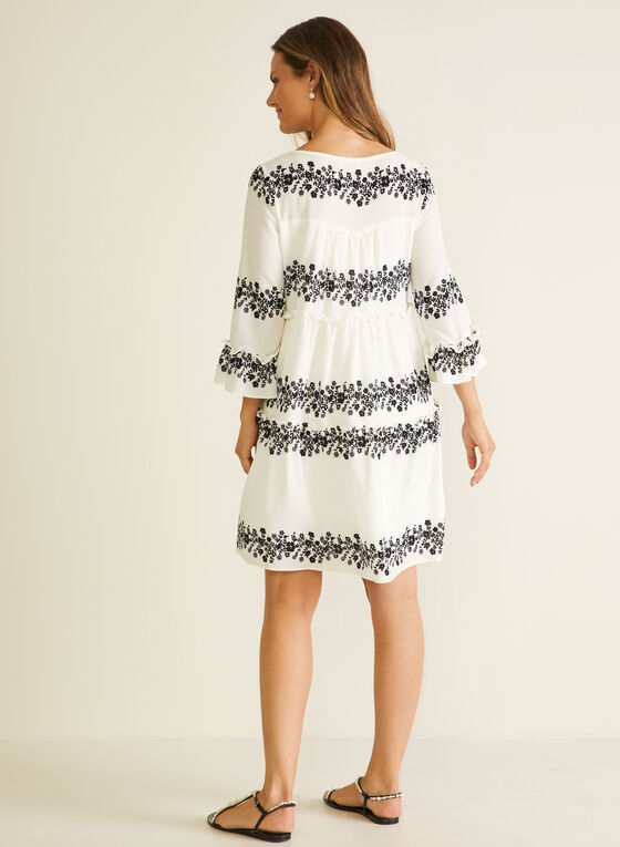Embroidered Detail Ruffle Sleeve Dress, White